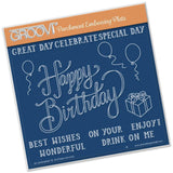 Happy Birthday <br/> A5 Square Groovi Plate <br/> (Set GRO-WO-40283-03)