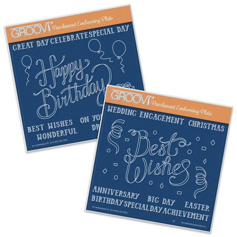 Happy Birthday & Best Wishes Set <br/> A5 Square Groovi Plates (Set of 2)
