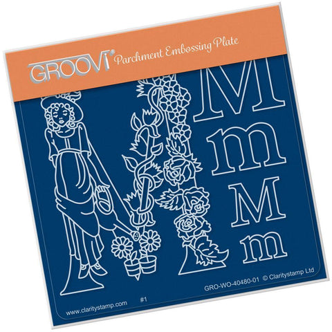 Nursery Rhyme 'M' <br/>A6 Square Groovi Baby Plate <br/>(Set GRO-WO-40653-01)