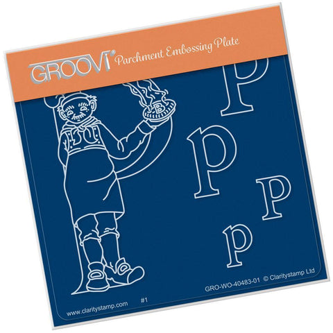 Nursery Rhyme 'P' <br/>A6 Square Groovi Baby Plate <br/>(Set GRO-WO-40653-01)