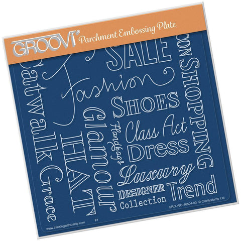 Fashion Phrases <br/> Groovi Plate A5 Square <br/>(Set GRO-40514-03)