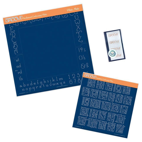 Celtic Alphabet, A4 Square Plate Mate & Sticker Tabs Groovi Plate Set