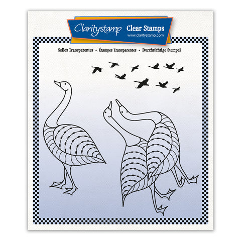Geese + MASK Unmounted Clear Stamp Set