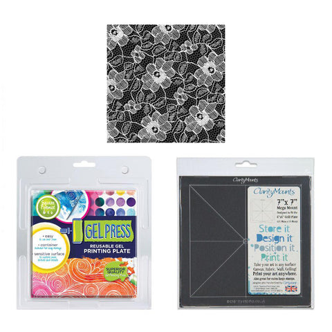 Gel Press Printing Plate 6 x 6 Inch+ Mega Mount 7 x 7 Inch + FREE Lace Swatch