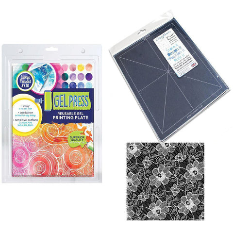 Gel Press Printing Plate 8 x 10 Inch<br/>+ Mega Mount 9 x 11 Inch + FREE Lace Swatch