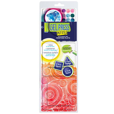 "Gel Press Petites Set 1 (Square, Triangle & Circle) + FREE 4"" x 4"" Mega Mount"