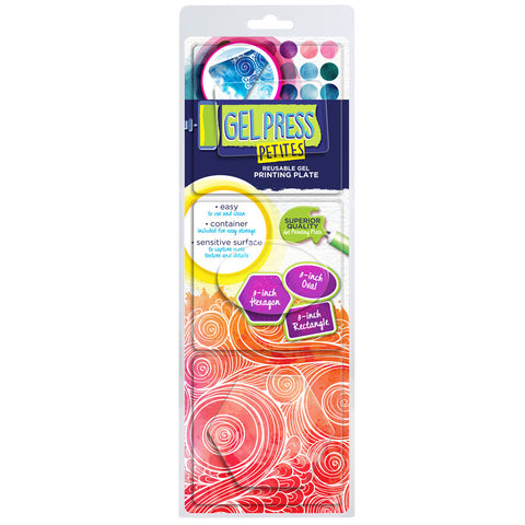 "Gel Press Petites Set 2 (Rectangle, Oval & Hexagon) + 4"" x 4"" Mega Mount"