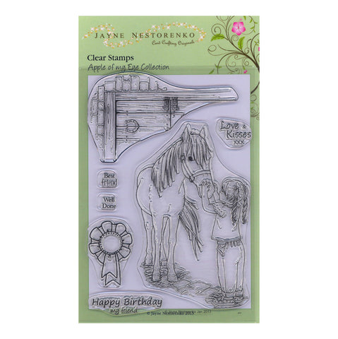 Girl & Pony <br/>Unmounted Clear Stamp Set