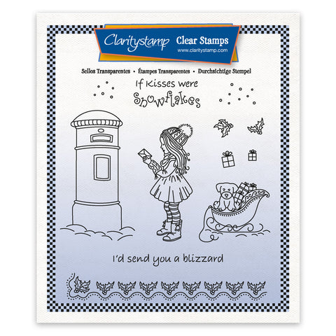 Linda's Children - Winter - Girl at Postbox - A5 Square Stamp & Mask Set