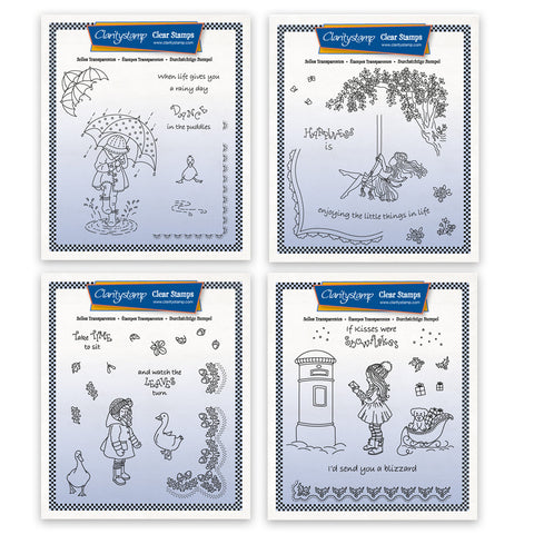 Linda's Children Through the Seasons Quartet - Girls A5 Square Stamps & Masks