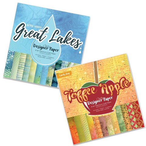 "Toffee Apple & Great Lakes <br/>Designer Paper Pack 8"" x 8"" Bundle"