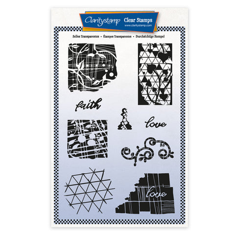 Grungy Grid & Patterns A5 Unmounted Stamp Set