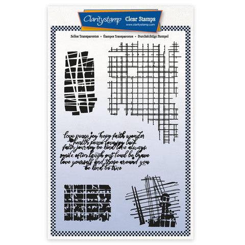 Grungy Grid & Script A5 Unmounted Stamp Set