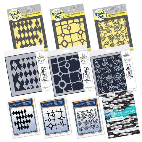Harlequin, Rocky Block & Unravelled Twine Collection <br/>Stamps, Stencils, Dies & Stickers Bundle