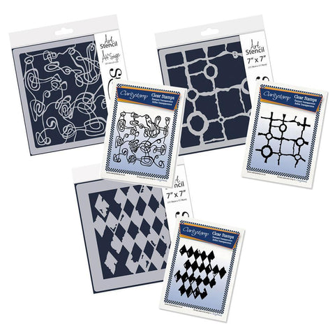 Harlequin, Rocky Block & Unravelled Twine Stamp & Stencil Collection