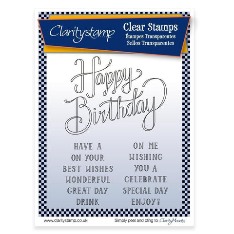 Happy Birthday Sentiments Unmounted Clear Stamp Set Claritystamp