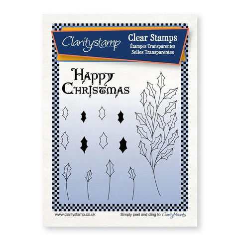 Holly Branch with Happy Christmas <br/>Unmounted Clear Stamp Set
