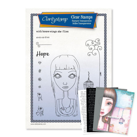 Large Dee's Friends - Hope Unmounted Clear Stamp Set + MASK & 2x Phrase Sheets