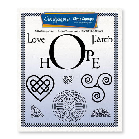 Hope Frame & Celtic Shapes Unmounted Clear Stamp