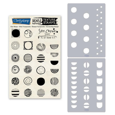 Sam's Shapes - I'll Get Round to It - Circles Unmounted Clear Stamp & Stencil Set