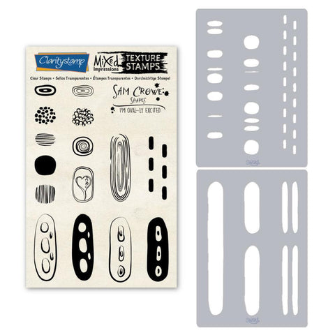 Sam's Shapes - I'm Oval-ly Excited - Ovals Unmounted Clear Stamp & Stencil Set