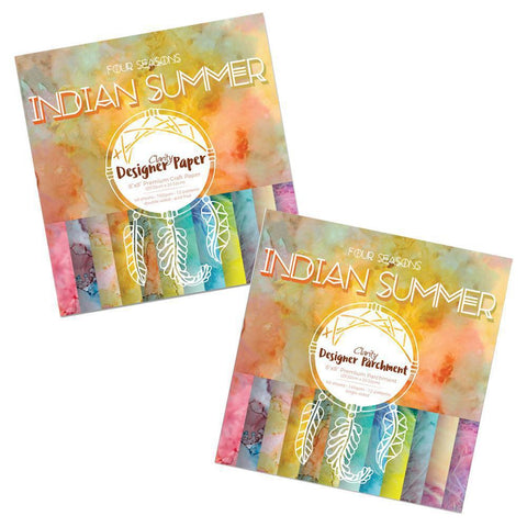"Indian Summer Duet<br/>Designer Paper & Parchment Packs 8"" x 8"""