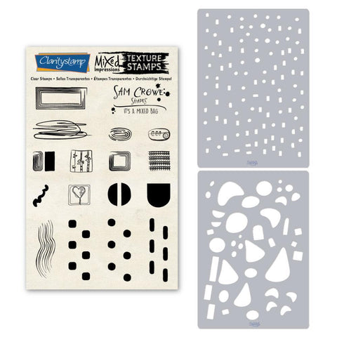Sam's Shapes - It's a Mixed Bag - Assorted Unmounted Clear Stamp & Stencil Set