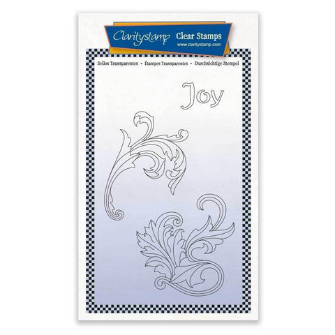 Joy Filigree Swirls + MASK <br/>Unmounted Clear Stamp Set