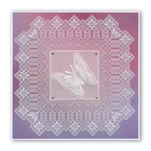 King Henry Lace Duet A5 Square Groovi Piercing Grid Claritystamp