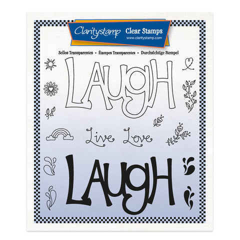 Laugh - Feel Good Words 2 Way A5 Square Stamp & Mask Set