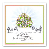 Mulberry Leaves 3 + Stencil <br/>Unmounted Clear Stamp Set
