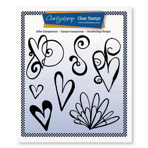 Leonie's Altered Hearts Unmounted Clear Stamp Set