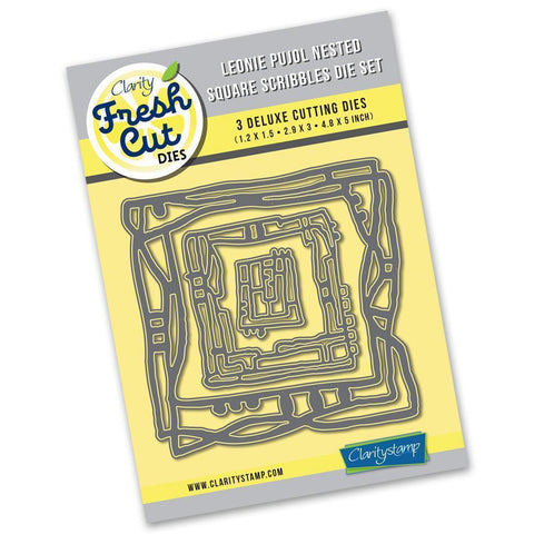Leonie Pujol Nested Square Scribbles Die Set <br/>Clarity Fresh Cut Dies