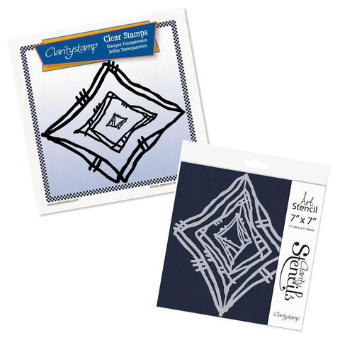 Leonie's Nested Diamond Scribbles Stamp Set & Stencil Bundle