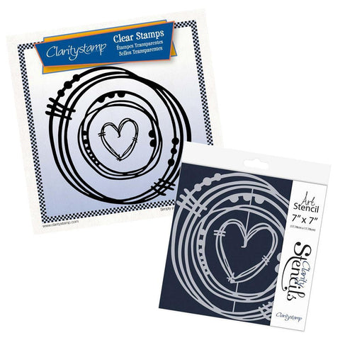 Leonie's Nested Heart Scribbles Stamp Set & Stencil Bundle