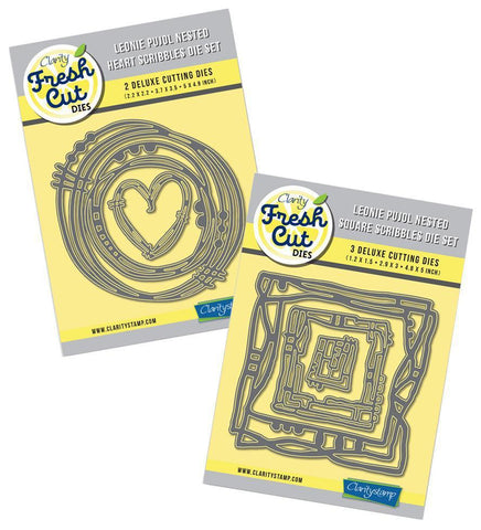 Leonie Pujol Nested Heart & Square Scribbles Die Set Duet <br/>Clarity Fresh Cut Dies