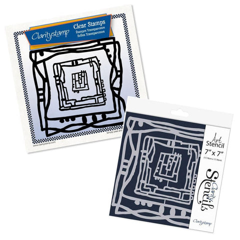 Leonie's Nested Square Scribbles Stamp Set & Stencil Bundle