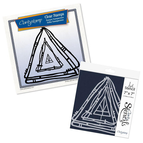 Leonie's Nested Triangle Scribbles Stamp Set & Stencil Bundle