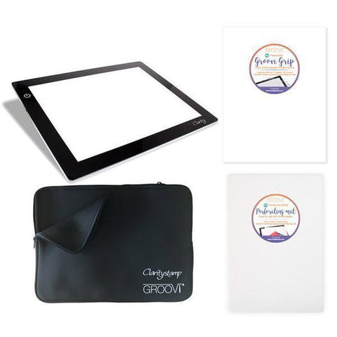 Lightwave LED Light Panel, Cover & Groovi Grip Bundle + Free A4 Translucent Piercing Mat