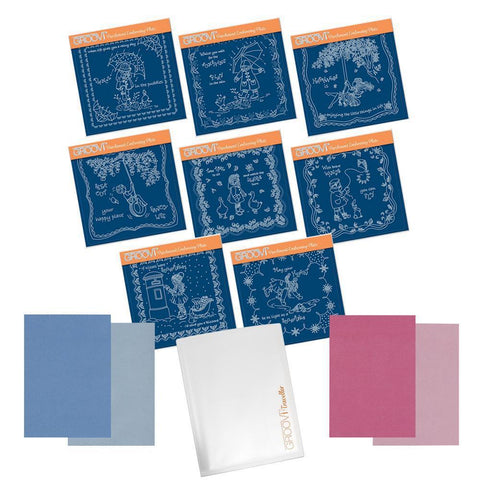 Linda's Children Through the Season's - A5 Square Groovi Plate Bundle + A4 Parchment & Folder