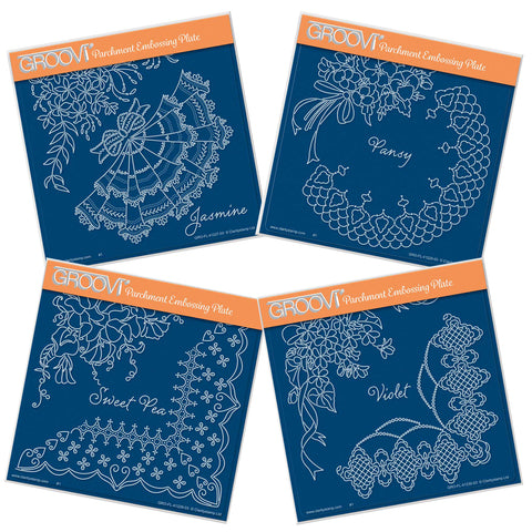 Linda's Summer Flowers & Lace Quartet <br/>A5 Square Groovi Plate Set