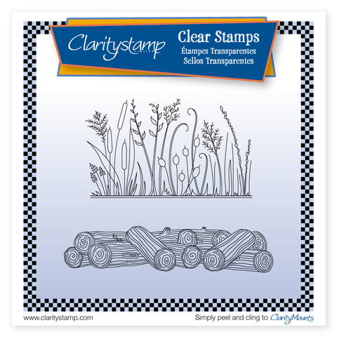 Honesty & Logs + MASK <br/>Unmounted Clear Stamp Set <br/>+ 2x Mounts