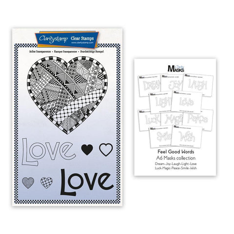 Barbara's SHAC Love Heart Doodle Stamp & Mask Set & Feel Good Words Mask Set
