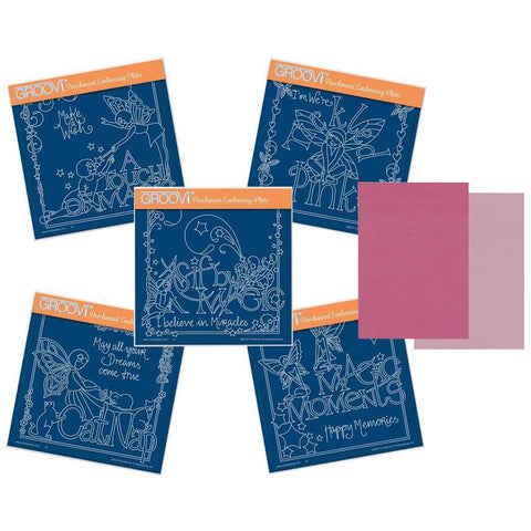 Mel's Magic Moments Collection <br/>A5 Square Groovi Plate Set & A5 Two-tone Pink Parchment