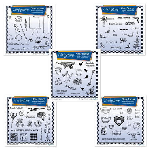 Mini Hobbies Stamp Sets Collection Unmounted Clear Stamp Sets