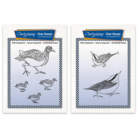Moorhens & Nuthatches A6 Stamp & Mask Sets