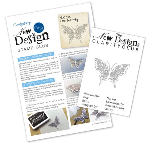 New Design Stamp Club Back Issue 110 - Lace Butterfly