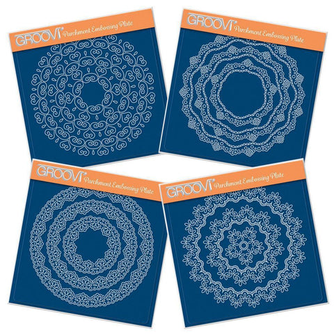 Nested Circle Lace Frames Complete Collection <br/>A5 Square Groovi Plate Set