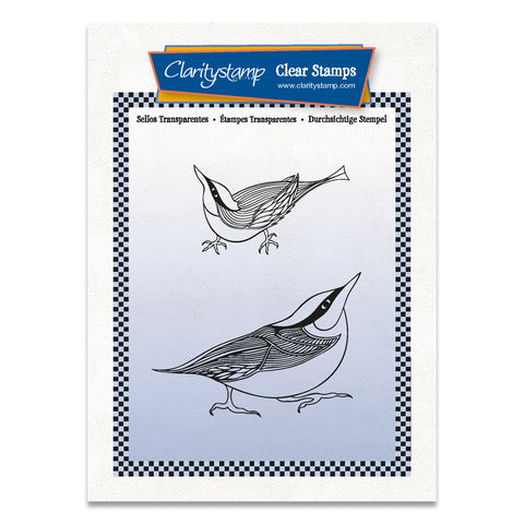 Nuthatches A6 Stamp & Mask Set