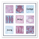Fossil Leaf Tiles + Stencil <br/>Unmounted Clear Stamp Set